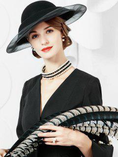 Ribbon Wide Brim Wool Hat - Black