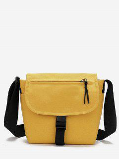 Canvas Hasp Design Student Crossbody Bag - Corn Yellow