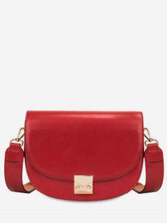 Metal Lock Design PU Crossbody Bag - Red