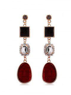 Square Water Drop Rhinestone Earrings - Red Wine