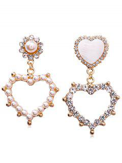 Heart Shape Asymmetrical Hollow Out Earrings - Gold