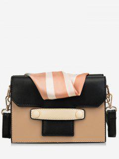 Striped Scarf Design Color Block Crossbody Bag - Camel Brown