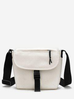 Canvas Hasp Design Student Crossbody Bag - White