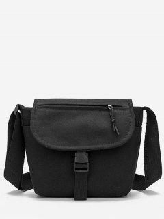 Canvas Hasp Design Student Crossbody Bag - Black