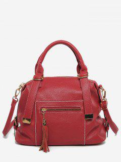 Vintage Design PU Leather Tassel Tote Bag - Lava Red