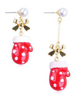 Faux Pearl Decor Glove Christmas Earrings - Multi