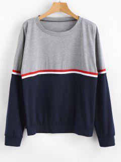 Stripe Color Block Long Sleeves T Shirt - Multi-a Xl
