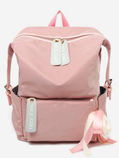 Bowknot And Letter Pattern School Backpack - Light Pink