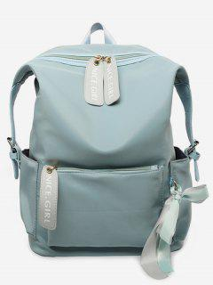 Bowknot And Letter Pattern School Backpack - Blue Hosta
