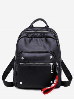 Large Capacity Layered Rivet Design Backpack - Black