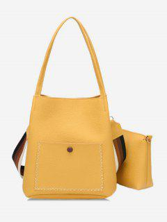Soild Color Design Vintage Shoulder Bag - Rubber Ducky Yellow