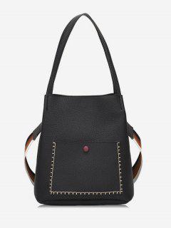 Soild Color Design Vintage Shoulder Bag - Black