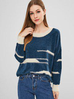 Two Tone Graphic Loose Fit Sweater - Lapis Blue