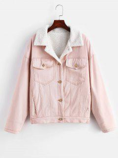 Drop Shoulder Fleece Denim Jacket - Pink M