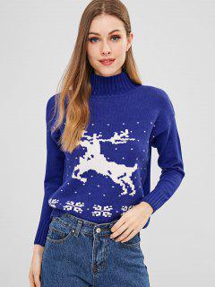 Pull Graphique Cerf De Noël à Col Montant - Bleu
