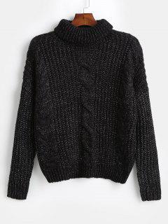 Suéter Tejido De Punto Extragrande Con Cuello Alto - Negro