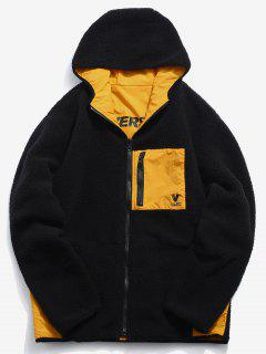Graphic Reversible Fuzzy Hoodie - Black 2xl