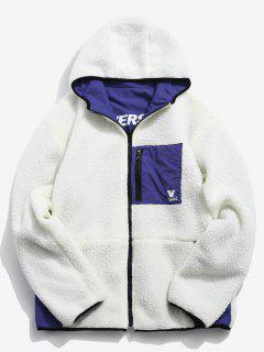 Graphic Reversible Fuzzy Hoodie - White L