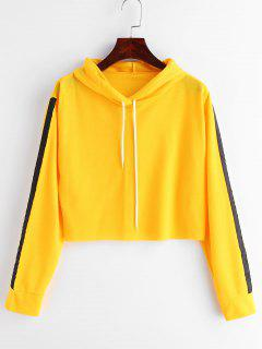 Contrast Ribbons Patched Cropped Hoodie - Bright Yellow L