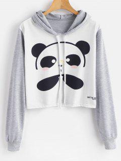 Panda Print Cropped Graphic Hoodie - Multi M