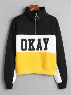 Color Block Graphic Fleece Pullover Sweatshirt - Multi M