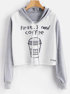 Kaffee Grafik Cropped Pullover Hoodie - Multi S