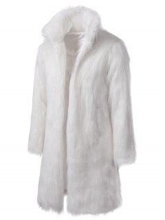 Longline Faux Fur Coat - White Xl