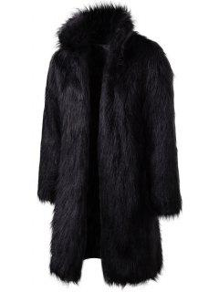 Longline Faux Fur Coat - Black M
