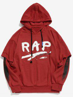 Letter Pattern Faux Twinset Hoodie - Red M