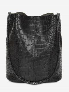 Large Capacity Artificial Leather Design Shoulder Bag - Black