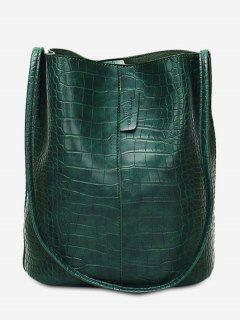 Large Capacity Artificial Leather Design Shoulder Bag - Deep Green