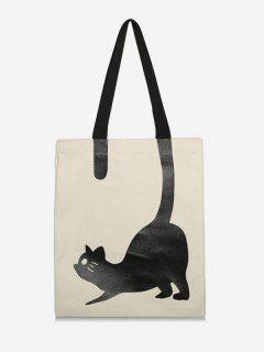 Cat Printed Canvas Tote Bag - Cool White
