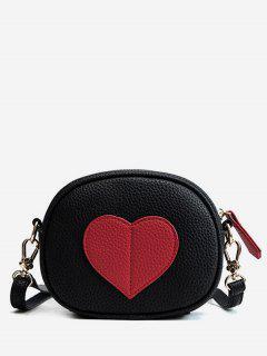 PU Leather Heart Design Mini Crossbody Bag - Black