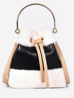 Fluffy String Design Bucket Tote Bag - Black