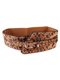 Punk Rivets Leopard Belt Elastic Wide Belt - Camel Brown
