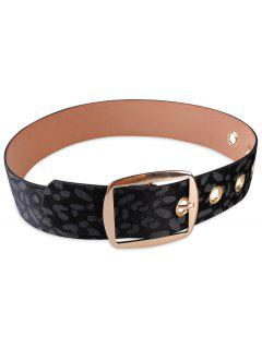 Metal Buckle Faux Leather Leopard Waist Belt - Black