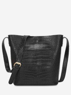 Magnetic Hook Design Artificial Leather Crossbody Bag - Black