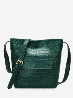 Magnetic Hook Design Artificial Leather Crossbody Bag - Deep Green