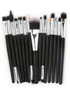 Professional 15 Pcs Fiber Soft Hair Cosmetic Tools Suit - Black