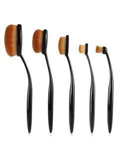 Cosmetic 5 Pcs Toothbrush Shaped Liquid Foundation Concealer Brush Set - Black