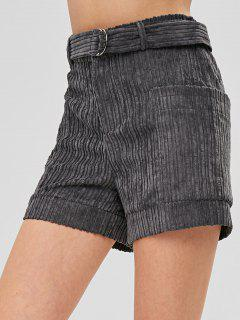 Pantalones Cortos De Bolsillo De Pana Con Cinturón - Gris Pizarra 2xl