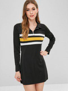 Vestido De Bloque De Color Corto De Media Cremallera - Negro M