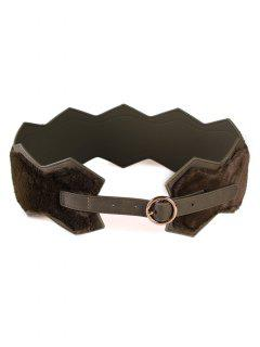 Round Buckle Faux Fur Waist Belt - Deep Green