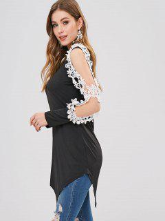 Camiseta Con Apliques De Flores De Hombro Frío Asimétrico - Negro L