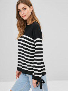 Striped Knit Tied Sleeve Sweater - Black