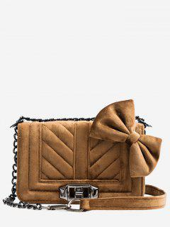 Bowknot Fluffy Design Hasp Crossbody Bag - Brown