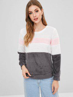 Fluffy Color Block Sweatshirt - Gray M