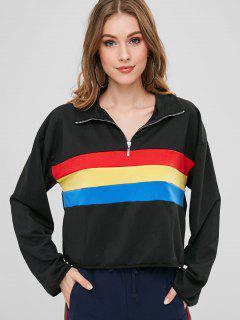 Color Block Pullover Zip Sweatshirt - Black L