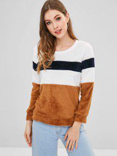 Fluffy Color Block Sweatshirt - Camel Brown L
