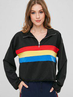 Color Block Pullover Zip Sweatshirt - Black Xl